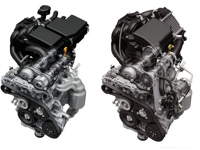 高い燃費性能を実現したエンジン(右:ターボ・左:NA)