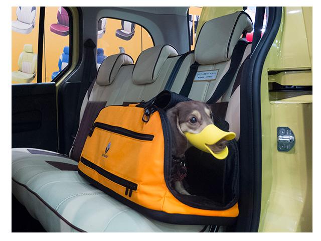 ▲自動車メーカーの純正アクセサリーとして、写真のようにシートに固定しやすいキャリーバッグを用意しているところが増えている。写真はルノーのペットキャリー