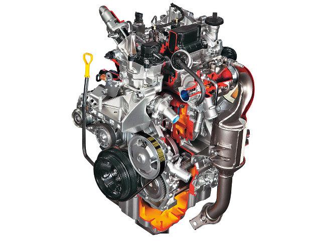 ▲インドで実用化されている、スズキの800㏄2気筒DOHCディーゼルターボ。コンパクトカーのセレリオに搭載されているが、大きく傾斜したバージョンもあるので、商用車にも用いられるかもしれない