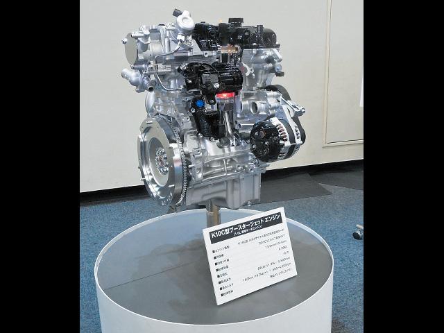 ▲こちらが1L直3ブースタージェットエンジン。JC08モード20㎞/Lを達成しながら、ターボ化により、1.6L車並みのアウトプットを実現している
