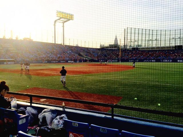 ▲東京ヤクルトスワローズ選手たちの試合前練習風景。神宮球場一塁側ブルペンシートより筆者写す。こういった夕暮どきや、心地良い風が吹いて星がまたたく夜の神宮は、ホントにオススメの場所です