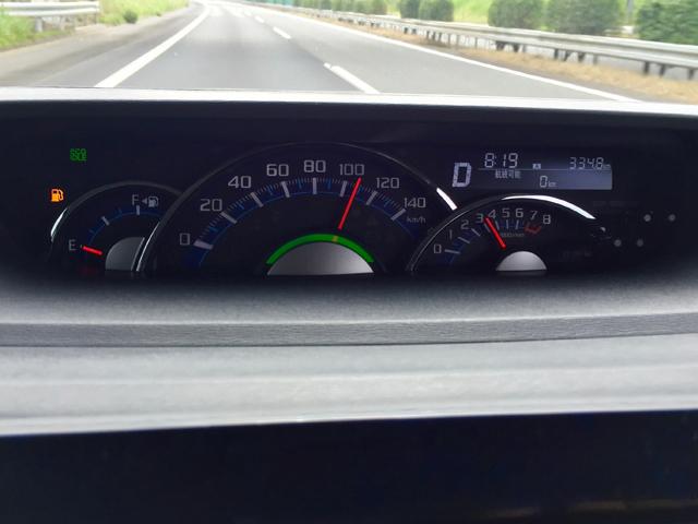 ▲某日朝、助手席からメーターを撮ってもらう。「航続可能距離0km」のまま結構な距離を走るハメに陥り、肝を冷やした。ちなみにトリップメーターは334.8kmとなっているが、これは給油後にトリップをリセットするのを忘れただけで、この距離で針がゼロになったわけではなく、実際の走行距離は400kmを超えていた
