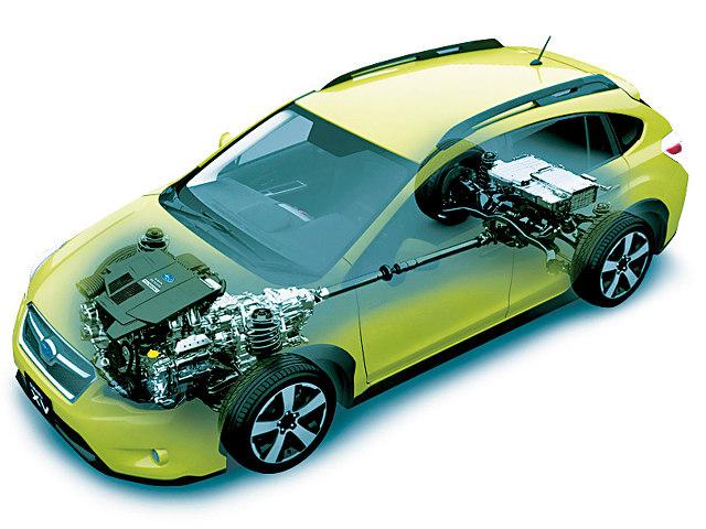 ▲現行XVに設定されているハイブリッド機構は、スバル独自のものだが、今後はトヨタから技術供与を受ける計画だ。縦置きエンジンに組み合わされ、4WDシステムとの相性も検証されるだろう