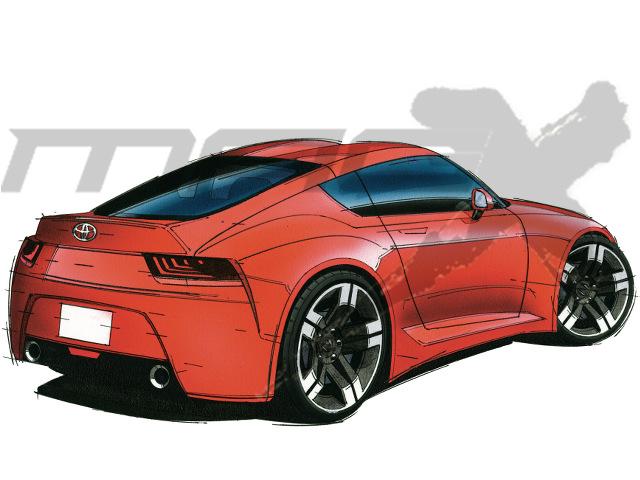 ▲トヨタとBMWによる共同開発スポーツの後ろ姿。ダックテール状に成型されるリアデッキには、昇降式スポイラーが内蔵される可能性もある。パコダルーフが採用され、空力特性も配慮される