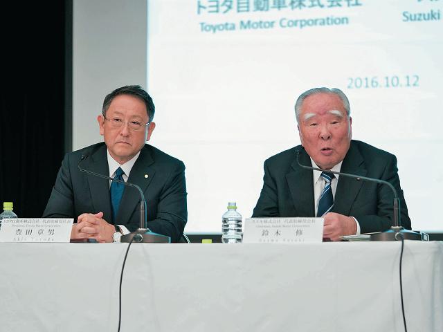 ▲2016年10月12日に発表された、トヨタとスズキの業務提携。トヨタは仲間づくりと業界標準づくり、スズキは先進技術の開発を推し進めることに焦点を当てて、提携の検討に乗り出した