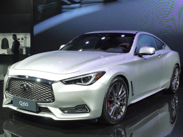 ▲日産の上級ブランド、インフィニティは怒涛の新車ラッシュ。写真はいわゆる、日本市場におけるスカイラインクーペの新型であるQ60。日本よりも先に中国デビューを果たした。2L直4ターボと3L V6ターボが設定されているようだ