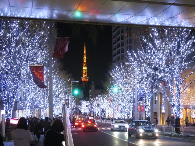 ▲通りは、立ち止まって撮影している人で溢れています。人が入らず、東京タワーとのコラボが撮れるのは、助手席観賞者の特権かも