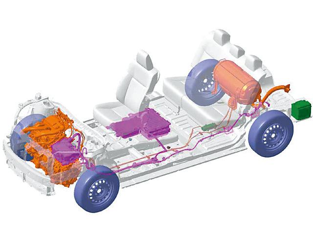▲1.5L LPGエンジンに、電気モーターが組み合わされるパワートレイン。駆動用バッテリーはキャビンの床下に、LPGタンクはリアシート後方に配置される