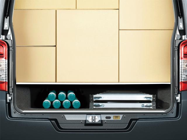 ▲ホイールハウスが平らになっており、荷台を設置したり資材を置いたりしやすい