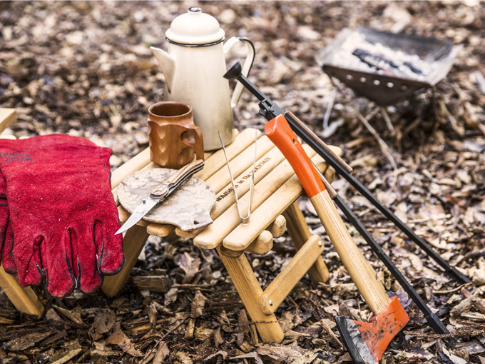 ▲使い込まれたキャンプ道具の数々