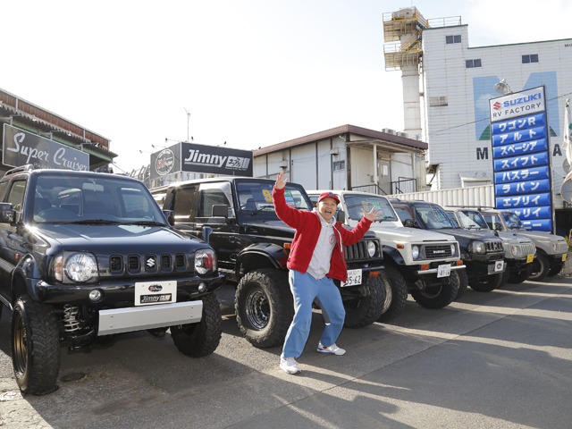 ▲「ジムニーはずっと乗ろうと思っていて手が出せていない車。そろそろ本気で考えないと!」というわけで、Boseさんがジムニー界の有名ショップに突撃です!