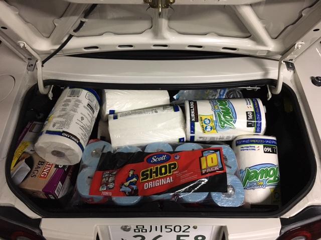 ▲コストコで大量のトイレットペーパーやゴミ袋などを買っても、意外となんとか積載可能でした