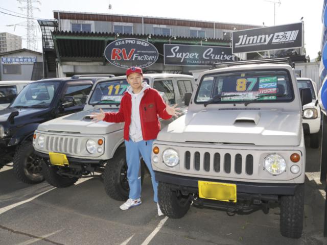 ▲「旧車好きとして先代ジムニーは避けては通れない。自分が乗りたい中古車を本気で選ぶよ!」とBoseさん