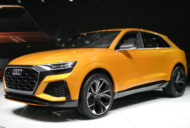 ▲遠くない将来にアウディのSUVラインナップ、Qシリーズの頂点に立つと目されるモデルのコンセプトが、Q8スポーツコンセプトだ。3L V6のTFSIエンジンに、高い回生能力を発揮するマイルドハイブリッドを組み合わせ、高い動力性能と燃費性能を両立させている