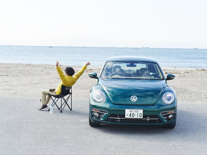 ▲2012年4月デビューのザ・ビートル。昨年9月のマイナーチェンジでボディカラーが増え、全8色に。今回登場するのは、デザイン(グレード名)のボトルグリーンメタリック