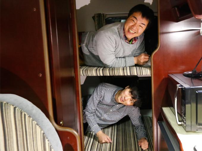 ▲車両後部に設けられた2段ベッド
