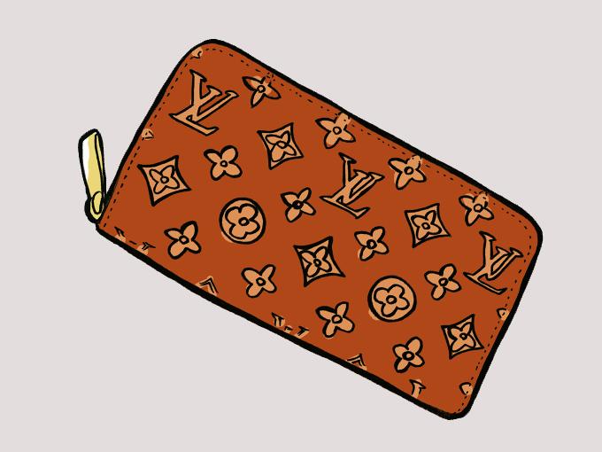 ▲ルイ・ヴィトンの長財布というとイラストのような「モノグラム」が頭に浮かぶかもしれませんが、今、好感度が高いのは「タイガ」という地味な柄なんです。このトレンドは、あなたの車選びにも大きく影響するのかもしれません