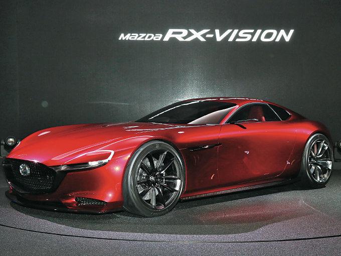 ▲2015年の東京モーターショーに出品された、RX-VISION。ロータリーエンジンの採否はともかく、クーペモデルの再投入を模索していることを暗示する役割を担っていた1台だ