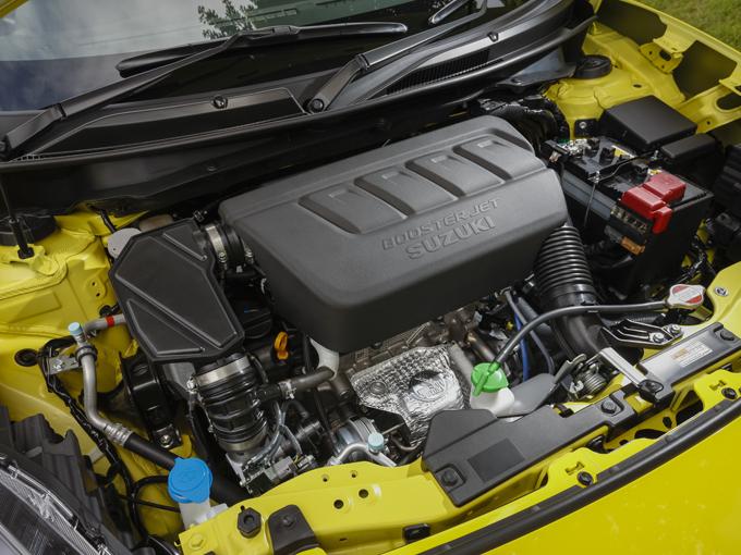 ▲K14C型ブースタージェットエンジンを搭載。先代モデルより小排気量ながら、直噴ターボにより最高出力・最大トルクを向上するとともに、燃費性能も改善