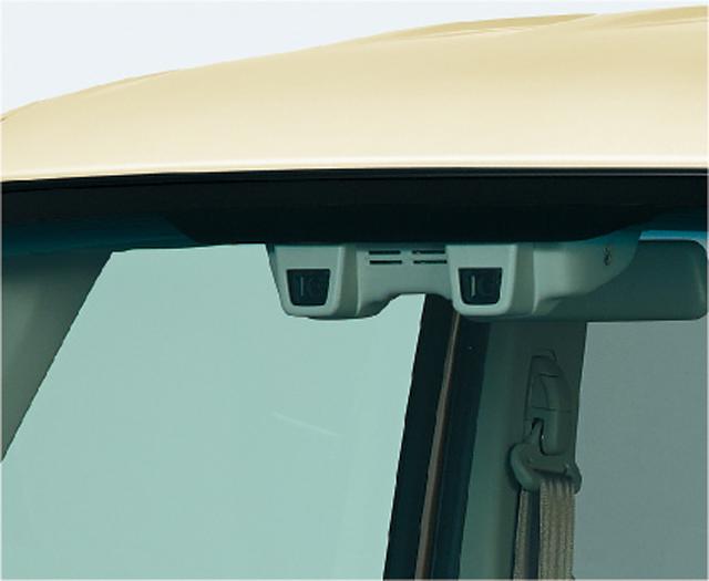 ▲スペーシアのデュアルカメラブレーキサポートは歩行者認識も可能