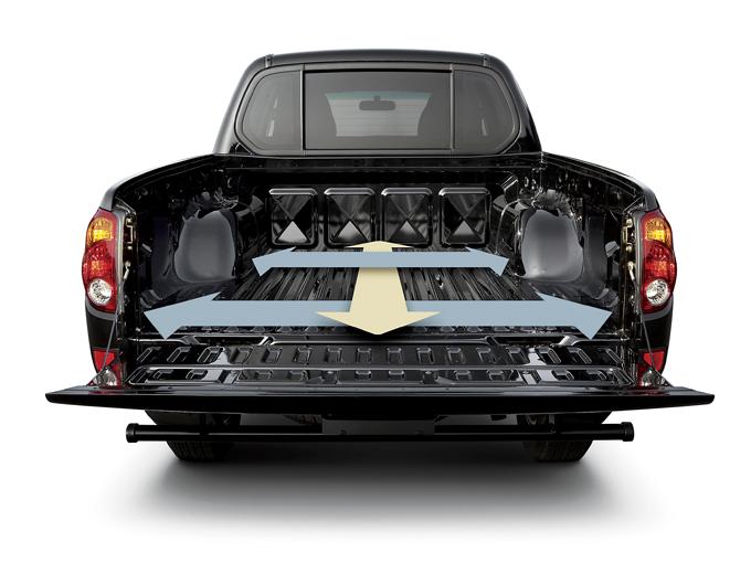 ▲荷台は奥行き1325mm、横幅1470mm(タイヤハウス部は1080mm)と、4名乗車の軽バンと同等のサイズとなる
