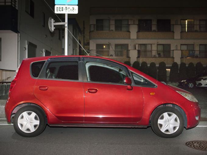 ▲約5年前に新車で購入したコルト(初代)。昨年夏の車検も田辺さんが持ち込んだそう