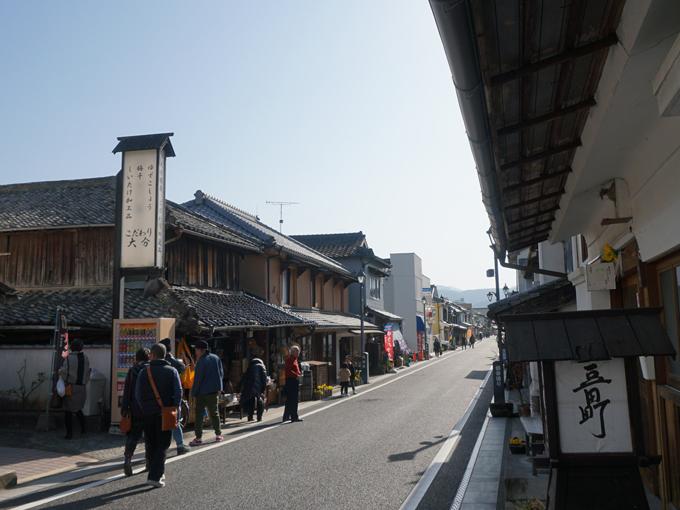 ▲大分県日田市の中心に位置する豆田町。古い建物が多く残っており、レトロな町並みを楽しむことができる