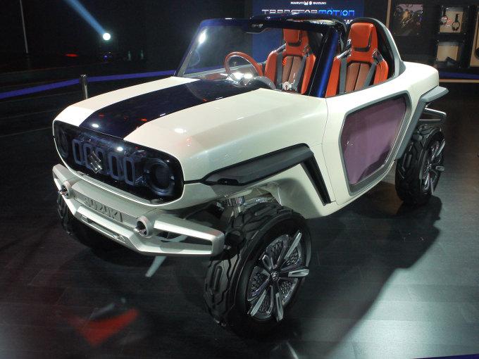▲2017年秋に開催された東京モーターショーで初披露されたSUVコンセプトが、インドでもデビューを果たした。四輪インホイールモーターを採用したピュアEVということもあり、前述のニューデリーの空模様を考えると、最適なモデルといえる。次期ジムニーを示唆するモデルともいわれている