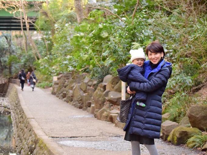 ▲先日、家族で等々力渓谷に行った際の写真。息子もお出かけを喜んでいました!