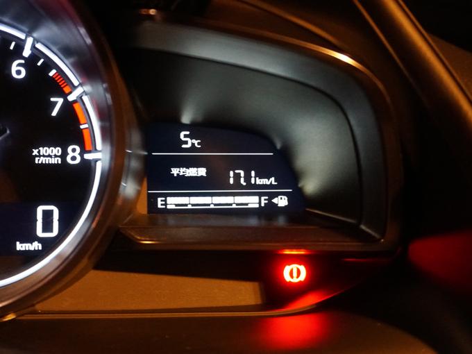 ▲ここまでの走行距離は96.9km。ガソリンは1目盛りも減っていません