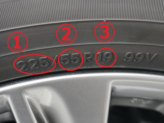 ▲まずはタイヤ横の写真のような刻印を見つけましょう。このタイヤは「225/55R19 99V」とありますね