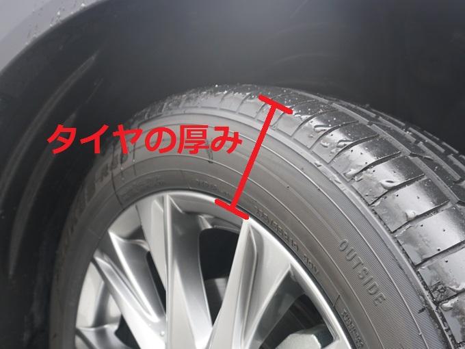 ▲②はタイヤの厚みを表す数字で、偏平率(へんぺいりつ)と呼ばれます。では「55」とあるので厚みが55mmなのかというとそうではありません。こちらは、①のタイヤ幅の何%の厚みなのかを表します。ですので225mmの55%がタイヤの厚みになります。同じ偏平率でもタイヤの幅により変化しますが、数値が大きいほどぶ厚いタイヤで小さければ薄いタイヤとなります