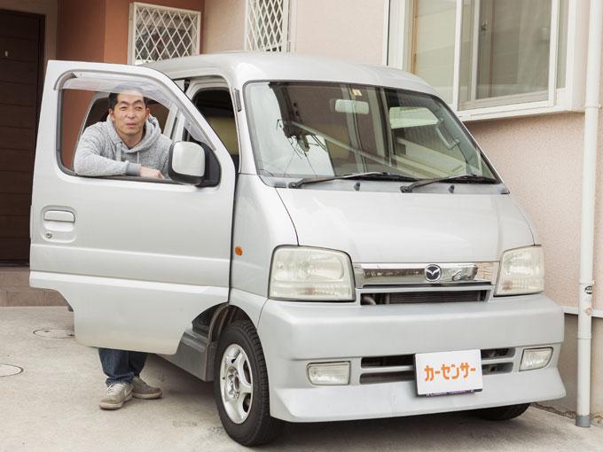 ▲通勤用のスクラムのエアロパーツは西川さんがDIYで取り付けたもの。車内ではHIPHOPを聞くことが多いそうだ