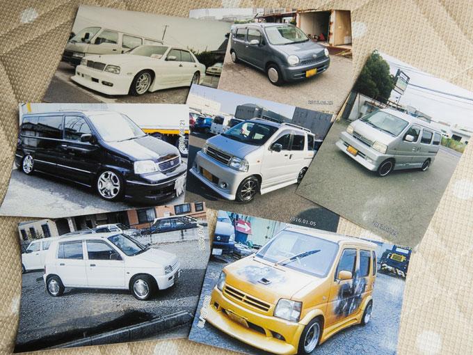 """▲これが西川さんの乗ってきた歴代の""""相棒""""たちの一部だ。実にバラエティに富んでいるようで、「エアロ」「アルミ」「ローダウン」という車好きのこだわりポイントは押さえているあたりに共通点が見られる"""