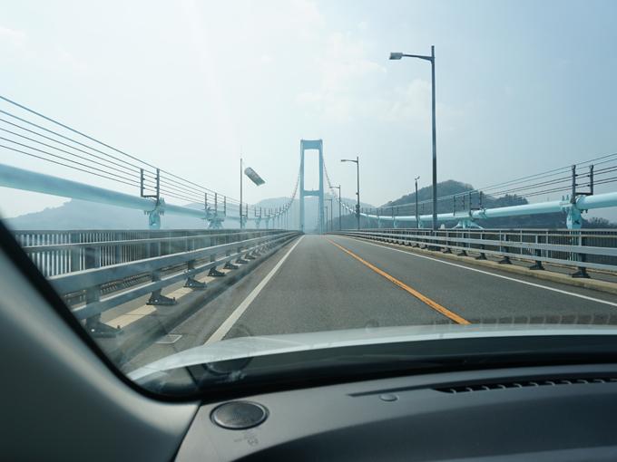 ▲冒頭の写真にも登場した安芸灘大橋。本土と下蒲刈島をつないでいます。通行料金は普通車で720円です。ちなみにETCは利用できません