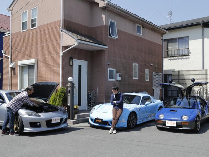 ▲黒木家には車が3台。ロードスター改をはじめ、RX-8、AZ-1とすべてマツダ車というマツダフリークの一家だ。黒木さんのお父さまがファミリアを乗り継いできた影響で、黒木さんも自然とマツダファンとなり、ロードスターだけで3台目というコッテコテのマツダファン!