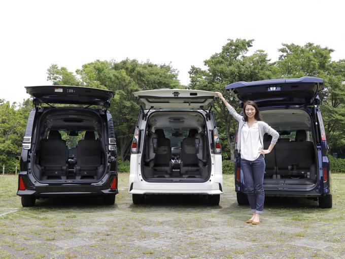 ▲左からトヨタ ヴォクシー、日産 セレナ、ホンダ ステップワゴン。同じ5ナンバーミニバンでも、こうやって並べてみると荷室の形って結構違うものです