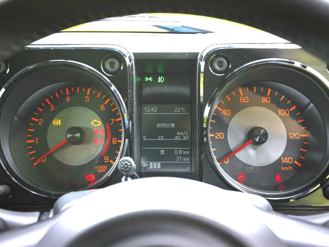 ▲計器類も速度計とタコメーターのシンプルなつくり。中央の小型ディスプレイには標識認識機能や車線逸脱警報装置の警告も表示される(写真はジムニー)