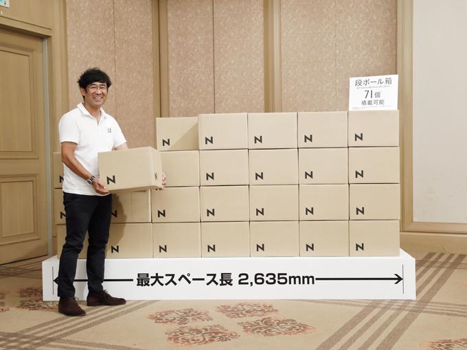 ▲FFを採用したN-VANには段ボール箱71個が積めてしまう広さがある。ざっとこんな量です! すごいよN-VAN