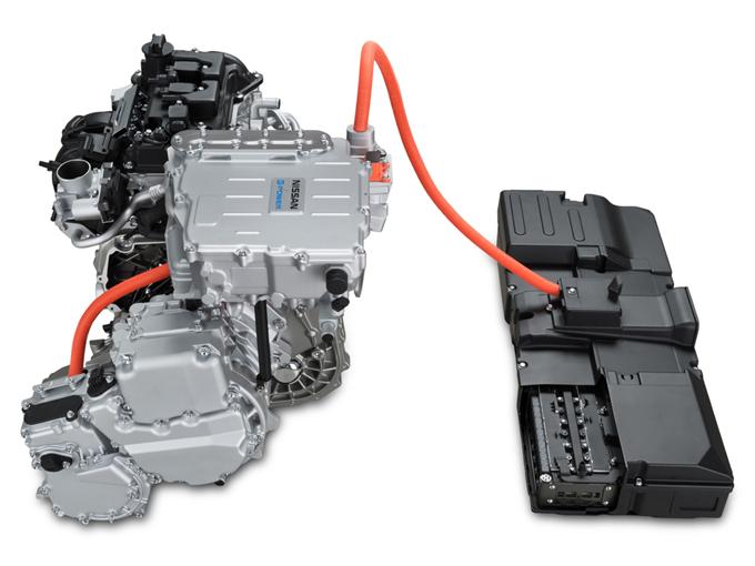 ▲モータードライブシステムと発電用エンジンを組み合わせたe-POWERのパワートレイン