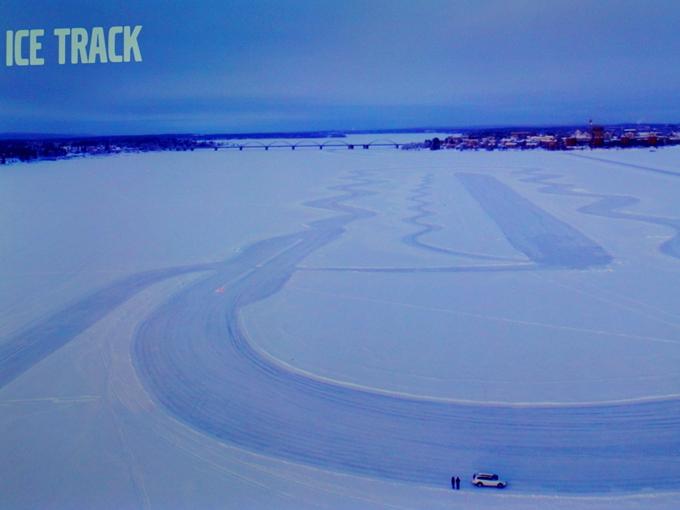 ▲中心部から郊外までの往復一般公道を約100kmと、海上を覆う氷上ドライビング
